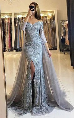 Sheath Prom Dresses,Off-the-Shoulder Prom Dresses,Detachable Train Prom Dresses,Grey Prom Dresses,Tulle Prom Dresses,Beading Prom Dresses,Prom Dresses 2017,Long Sleeves Prom Dresses