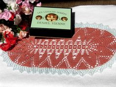 """I sell this on my Etsy shop """"YuminaCfe"""" Welcome!! Link in my profile. Crochet doily,Kawaii doilies,Japanese handmade,helloween,christmas,oval,dresser mat,table center,table topper,dollhouse rug/ 6.7""""x12.6""""-#d33 by YuminaCafe on Etsy"""