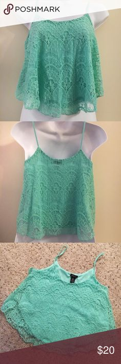 """Rue 21 Mint Lace Crop Top Tank Medium Adorable crop tank from Rue 21 in gorgeous mint! Super fun and flowy! 15"""" long from bottom of strap. Excellent condition!! Rue 21 Tops Crop Tops"""