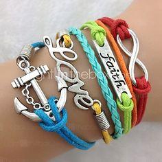 Faith, Love & Anchor Bracelet-Antique Silver Charm Bracelet inspirational bracelets Jewelry Christmas Gifts 2017 - $1.99