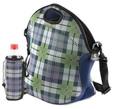 """LUNCH BAG, This Neoprene Lunch Bag, Is a High Quality Insulated, Lunch Box, Lunch Tote, Bag. """"HOLIDAY GIFT Package Includes"""" a Matching, Water Bottle Tote Bag. CARREZE"""