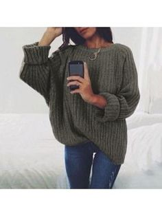 Discount This Month Simenual sweaters fashion 2018 women clothing loose casual solid pullovers knitwear autumn winter sweater ladies jumper 7 colors Mode Outfits, Casual Outfits, Fashion Outfits, Women's Casual, Womens Fashion, Ladies Fashion, Fashion 2018, Fashion Ideas, Casual Party