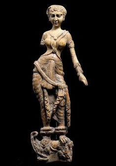 Sculpture of a water goddess standing atop a makaraa mythical Hindu water creaturewas found at the Begram archaeological site in northern Afghanistan.