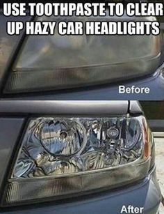 Toothpaste for cleaning hazy car headlights!