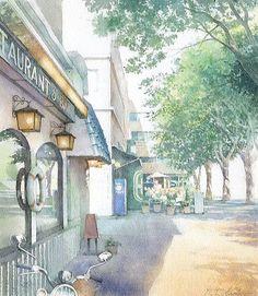 「新緑の街」横浜大桟橋付近 水彩画 / 福井良佑   ::この風景の先には大型客船が 出入りする大桟橋があり、右手 には山下公園、左手に県庁、 周辺には赤レンガ倉庫・横浜 スタジアムなどがあり、最も横浜 らしい場所と言えます。 古いレストランやカフェテラスが あるこの空間は、港町の風情や イキゾチズムを感じずにはいられ ません。