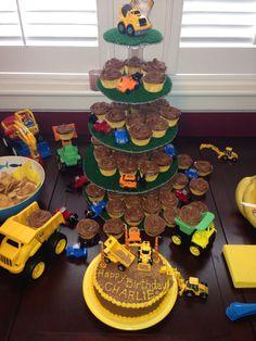 Charlie's Dump Truck Birthday Cake and Cupcakes www.markballard.com