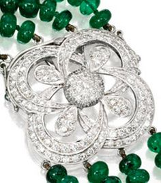 Detail of the Clasp on an 18 Karat White Gold, Emerald Bead and Diamond Necklace