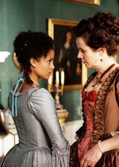 Gugu Mbatha-Raw & Emily Watson in 'Belle' Belle Movie, Mbatha Raw, Emily Watson, Black Costume, Movie Facts, Black Characters, Romance, Ladies Night, Photography Women