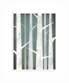 BIRCH TREES Winter Woods 9x12 graphic art Illustration GICLEE print signed By Ryan Fowler