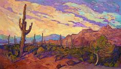Arizona Saguaro oil painting desert impressionism Erin Hanson