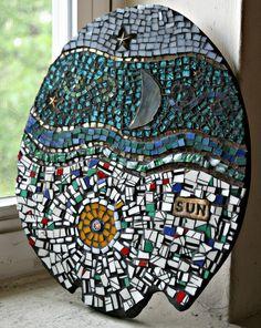 Mosaic Moon-Stars-Sun on Wood, Celestial Delight, Stars, Moon and Sun Mosaic - 10 x 8.5 Inches