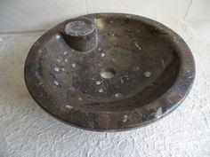Natursteinwaschbecken, Handwaschbecken, Fossil von silver-style via dawanda.com