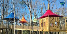Zoo canopies and shade structures using natural wood frames and elements.