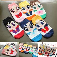 Cute kawaii cartoon students sailor moon bow socks