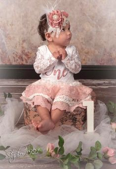 Baby Girls Dusty Rose and Rose Gold Lace First Birthday Outfit – Ruffles & Bowties Bowtique