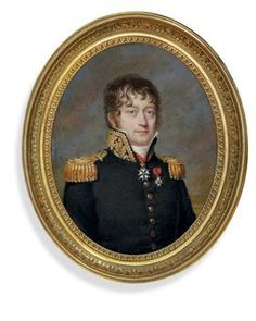PIERRE DAUBIGNY (FRENCH, 1793-1858)  Vice Admiral Baron l'Hermitte (1766-1826), in military uniform, blue coat with gold-embroidered collar, gold epaulettes and buttons, white stock, wearing the French Military Order of St Louis and the Royal French Order of the Legion of Honour; cloudy sky background (artist's join)  signed 'D'aubigny' (mid-left)  on ivory  oval, 4 1/8 in.   A paper label on the reverse is inscribed with the sitter's name.