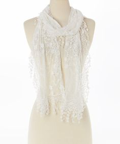 Love this White Lace-Trim Linen-Blend Scarf by Pretty Angel on #zulily! #zulilyfinds