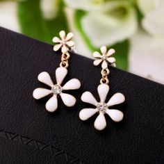 $3.12 Pair of Cute Colored Glazed Flower Pendant Earrings For Women