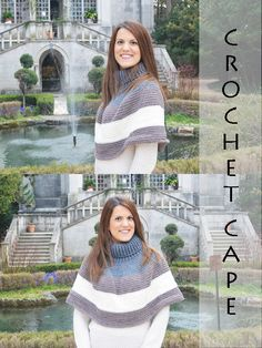 Crochet, stripes and turtle neck to make this beautiful cape to wear durign the first chilly springy days