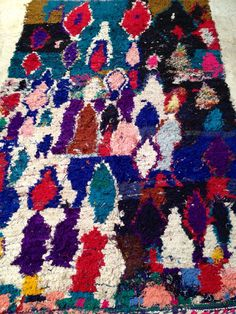 Vintage Moroccan rug  Boucherouite  Abstract by BazaarLiving, £260.00