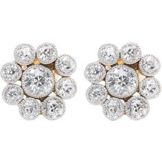 Preowned Edwardian 3.05 Carat Diamond Halo Earrings In Luxurious... ($4,995) ❤ liked on Polyvore featuring jewelry, earrings, multiple, stud earrings, antique jewellery, clear earrings, antique edwardian jewelry, platinum jewelry and white jewelry