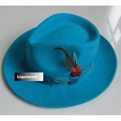 Aqua Blue Australian Wool Dress Fedora Hats for Men Women SKU-159067