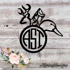 Your place to buy and sell all things handmade Monogram Stickers, Monogram Letters, Cool Gifts, Best Gifts, Hunting Tattoos, Outdoor Stickers, Gifts For Wedding Party, Party Gifts, Transfer Paper