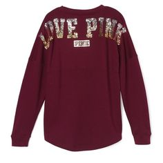 Medium size VS PINK bling varsity crew maroon New in package. No trades. Price firm. Limited edition. PINK Victoria's Secret Tops Tees - Long Sleeve