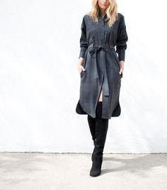 Isabel Marant   dark gray wool button down dress with waist tie