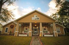 Craftsmen style front porch decorated for Christmas - Marianne Greig Photography