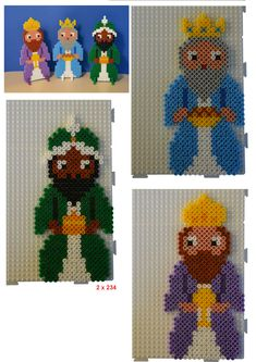 Inspiration for playing with Hama Beads Perler Bead Designs, Pearler Beads, Fuse Beads, Hama Beads Patterns, Beading Patterns, Christmas Perler Beads, Beaded Banners, Three Wise Men, Iron Beads