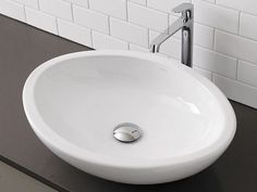 $300 Ceramic Bathroom Vessel Sinks-Egg Shaped White Ceramic Vessel Sink