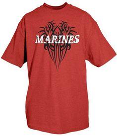 Marines Shirt Red Tribal Marine Tee US Marines T-Shirts  $9.77