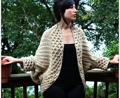 Crochet PATTERN Crocodile Stitch Cardigan - Small to 5X - Permission to Sell Finished Items $6.00