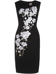 Product name: Black Crew Neck Sleeveless Embroidered Sheath Dress at SHEIN, Category: Work Dresses Pretty Dresses, Beautiful Dresses, Dresses For Work, Robes Vintage, Embroidery Dress, Floral Embroidery, Ball Gowns Evening, Moda Fashion, Event Dresses