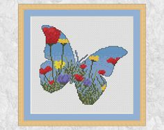 Butterfly cross stitch pattern PDF modern flower counted
