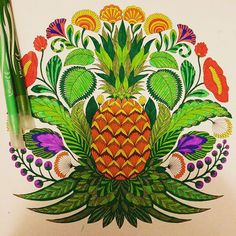 Coloured in by moi #milliemarotta #tropicalwonderland #colorin #colourin #colorinforadults #colouringinbook #pineapple #picoftheday