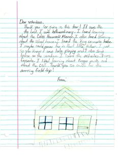 A thank you letter from one of our field trips.