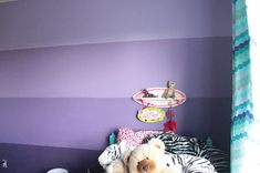 Painting Done wall above bed Purple Ombre Room