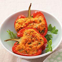 Kräuterpolenta in der Paprika