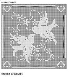 Free Filet Crochet Afghan Patterns | LOVE BIRDS FILET CROCHET DOILY MAT AFGHAN PATTERN ITEM 444 EMAILED