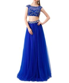 Ever-youth Women's Capped Sleeves Tulle Beaded Crop Top Long Prom Party Dress Blue US08. Beadings+Tulle+Satin. Jewel,Capped Sleeves,Crop Top,Two Pieces,Floor Length. Notice:Shipped from China. Customized sizes are available.Please email us your detail size. We will contact you to confirm the measurements details.If no reply from you,we will make this dress as our Size Chart.Thank you!.
