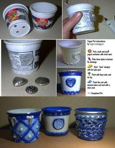 Plastic Pot Recycling - Using Yogurt Cups - Garden Junk- great craft for kids over the summer! Cup Crafts, Diy And Crafts, Crafts For Kids, Arts And Crafts, Plastic Pots, Plastic Bottles, Reuse Plastic Containers, Plastic Container Crafts, Craft Projects