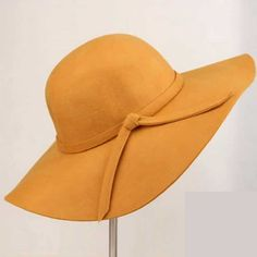 Summer Hat Wave Wide Brim Wool Vintage Hat with Bowknot 11 Colours e9d9ae799a79