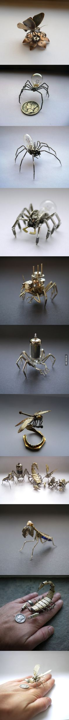 Tiny mechanical insects made of watch parts by Justin Gershenson-Gates.