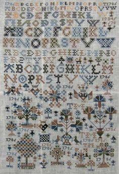 Kleurentabel met DMC nummers voor de Friese merklap 1786   Berthi's Weblog