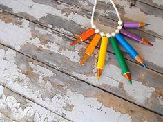 Chakra colored pencils necklace chakra necklace chakra jewelry rainbow necklace chakra pendant ecofriendly necklace upcycled pendant de FamDdaear en Etsy