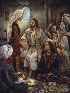 Jesus often visited the home of Mary, Martha and Lazarus. Martha was a good hostess and was busy making the best meal for Jesus. But Mary wanted to stay with Jesus, soaking in His words. Mary chose the best part. Pictures Of Christ, Bible Pictures, Bible Photos, Religious Pictures, Lds Art, Bible Art, Image Jesus, Mary And Martha, Biblical Art