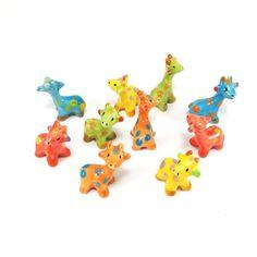 Miniature Wild Animals Giraffes Ceramic Figurine Cute Collectible Handmade decor