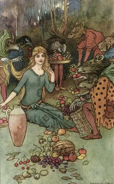 an illustration for Christian Rossetti's Goblin Market, by Warwick Goble (1862-1943)